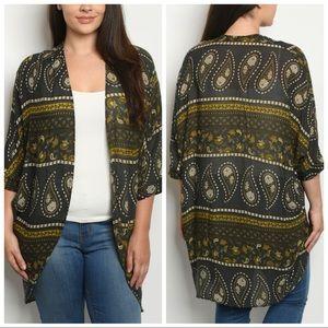 Tops - NEW PLUS Charcoal Paisley Kimono Cardigan
